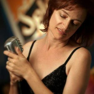 Denver Big Band Singer Deborah Stafford with classic mic