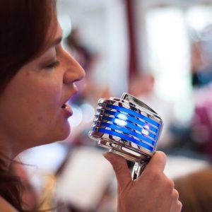 Deborah on blue Heil mic