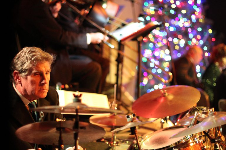 Sticks plays drums with Denver Big Band the Flatirons Jazz Orchestra