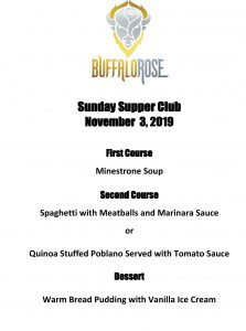 Denver Big Band Supper Club Menu